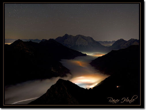 Zugspitze at night